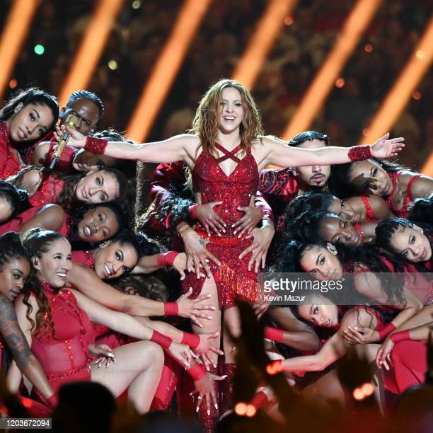 Shakira performs onstage during the Pepsi Super Bowl LIV Halftime Show at Hard Rock Stadium on February 02 2020 in Miami Florida