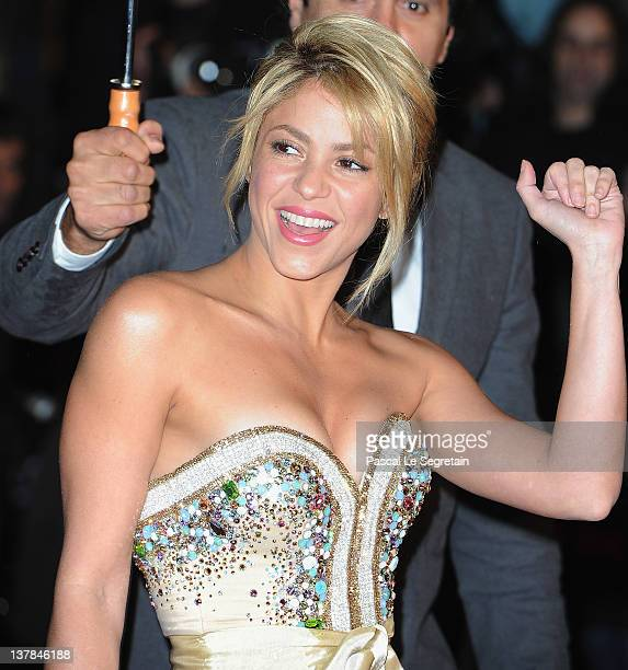 Shakira poses as she arrives at NRJ Music Awards 2012 at Palais des Festivals on January 28 2012 in Cannes France