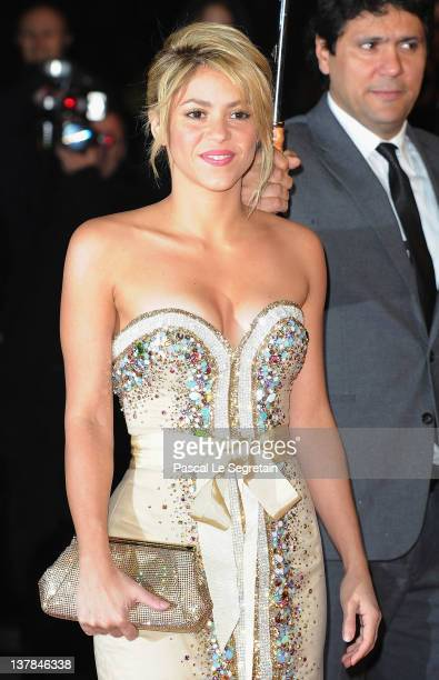 Shakira poses as she arrives at NRJ Music Awards 2012 at Palais des Festivals on January 28, 2012 in Cannes, France.