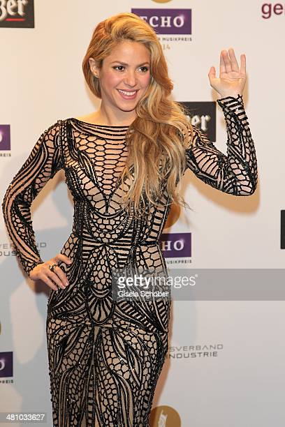 Shakira poses on the red carpet prior the Echo award 2014 at Messe Berlin on March 27 2014 in Berlin Germany z