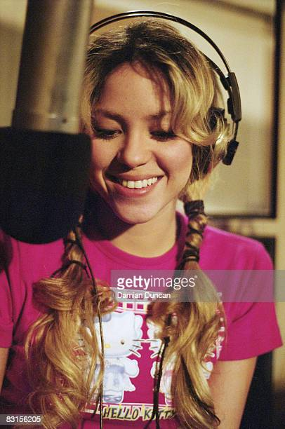 Shakira recording at Abbey Road Studios, London, circa 2002.