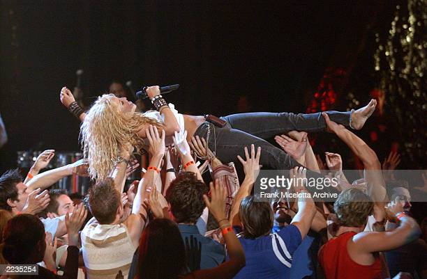 Shakira rehearsing for the 2002 MTV Video Music Awards at Radio City Music Hall in New York City August 28 2002 Photo by Frank Micelotta/ImageDirect