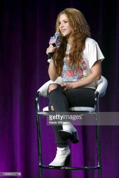 Shakira speaks onstage during the Pepsi Super Bowl LIV Halftime Show Press Conference at Hilton Miami Downtown on January 30 2020 in Miami Florida