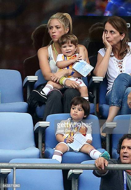 Shakira wife of Gerard Pique and their two sons Milan Pique Mebarak and the younger Sasha Pique Mebarak along Pique's parents Montserrat Bernabeu and...