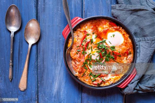 shakshouka - savory food stock pictures, royalty-free photos & images