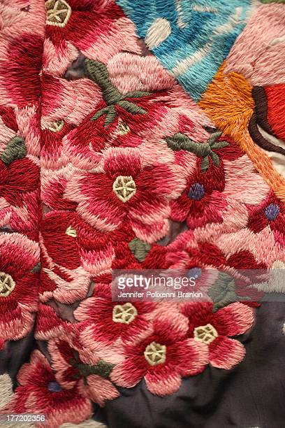 Shakuhachi dress fabric detail backstage ahead of the MBFWA Trends show during MercedesBenz Fashion Festival Sydney 2013 at Sydney Town Hall on...
