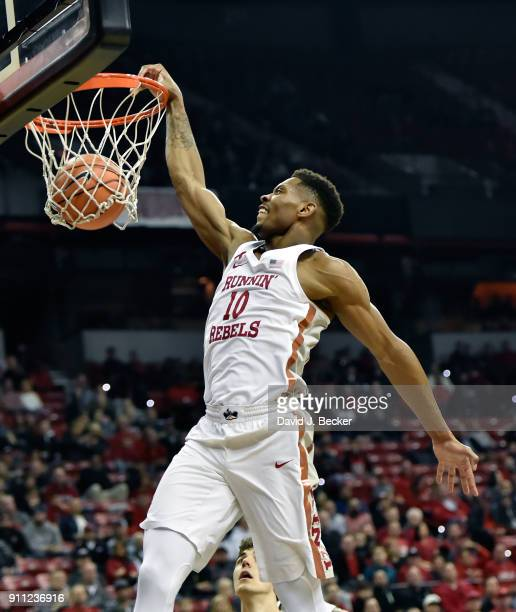 Shakur Juiston of the UNLV Rebels dunks against the San Diego State Aztecs during a game at the Thomas Mack Center on January 27 2018 in Las Vegas...