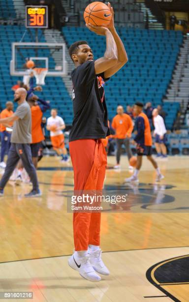 Shakur Juiston of the UNLV Rebels warms up before the team's game against the Illinois Fighting Illini at the MGM Grand Garden Arena on December 9...
