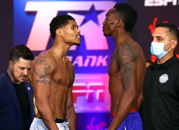 Shakur Stevenson and Jeremiah Nakathila face-off during the weigh-in for the interim junior lightweight championship at Virgin Hotels Las Vegas on...