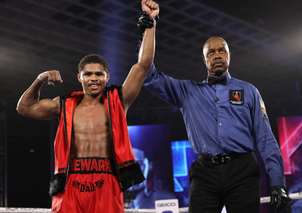 Shakur Stevenson celebrates after defeating Toka Kahn-Clary at the MGM Grand Conference Center on December 12, 2020 in Las Vegas, Nevada.