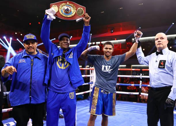 Shakur Stevenson is victorious as he defeats Jeremiah Nakathila for the interim junior lightweight championship at Virgin Hotels Las Vegas on June...