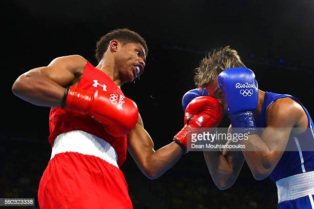 Shakur Stevenson of the United States lands a blow during the Men's Bantam against Robeisy Ramirez of Cuba on Day 15 of the Rio 2016 Olympic Games at...