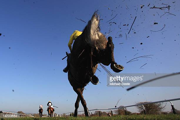 Shalamiyr ridden by BJ Poste clears the open ditch during the Bitterley Point to Point Hunter' steeplechase race at Ludlow racecourse on March 28...