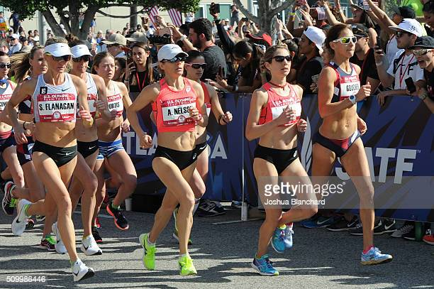 S Shalane Flanagan Adriana Nelson Sara Hall and Kara Goucher at the start of the Olympic Team Trials Women's Marathon on February 13 2016 in Los...