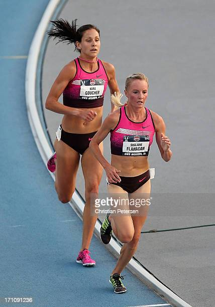 Shalane Flanagan and Kara Goucher compete in the Women's 5000 Meter final on day one of the 2013 USA Outdoor Track Field Championships at Drake...