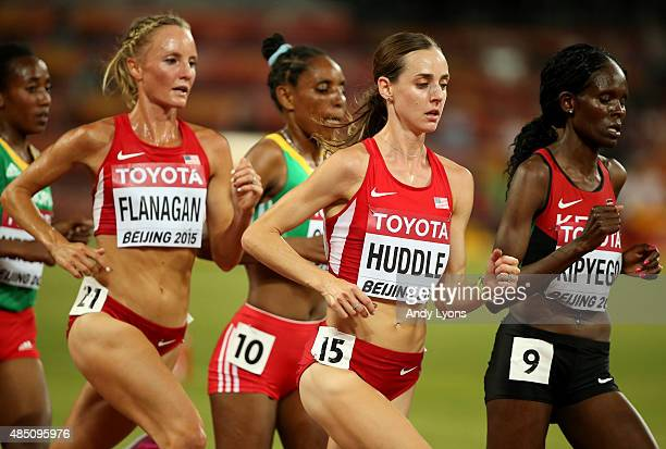 Shalane Flanagan of the United States and Molly Huddle of the United States compete in the Women's 10000 metres final during day three of the 15th...