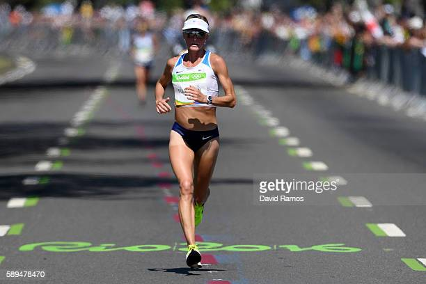 Shalane Flanagan of the United States competes during the Women's Marathon on Day 9 of the Rio 2016 Olympic Games at the Sambodromo on August 14 2016...