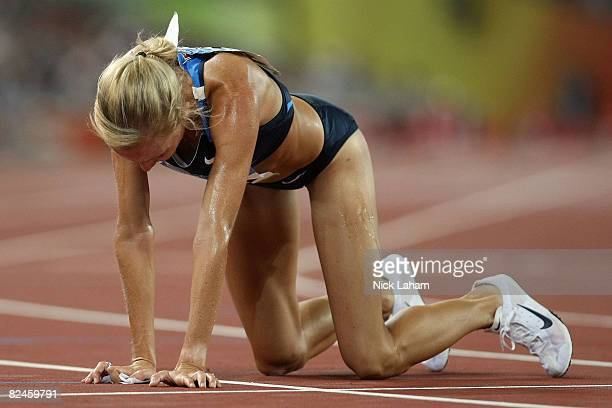 Shalane Flanagan of the United States looks dejected after the Women's 5000m Heats held at the National Stadium on Day 11 of the Beijing 2008 Olympic...
