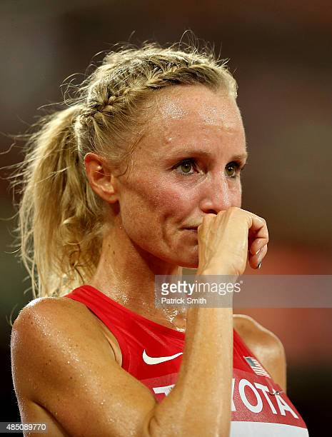 Shalane Flanagan of the United States reacts after crossing the finish line in the Women's 10000 metres final during day three of the 15th IAAF World...
