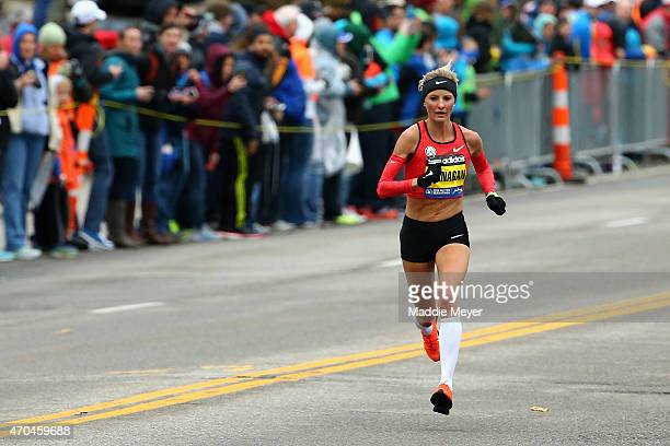 Shalane Flanagan of the United States runs during the 119th Boston Marathon on April 20, 2015 in Boston, Massachusetts.