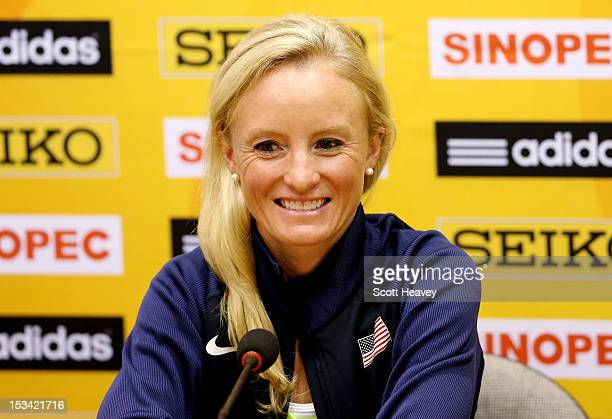 Shalane Flanagan of United States during a press conference ahead of the 20th IAAF World Half Marathon on October 5, 2012 in Kavarna, Bulgaria.