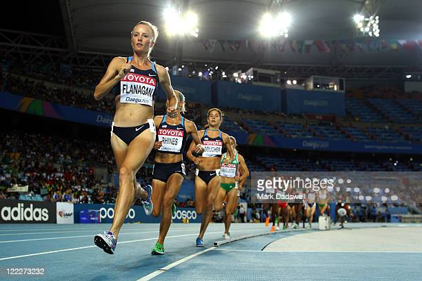 Shalane Flanagan of United States Jennifer Rhines of United States Kara Goucher of United States and Jessica Augusto of Portugal compete in the...
