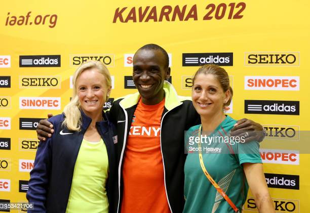 Shalane Flanagan of United States with Eliud Kipchoge of Kenya and Silviya Danekova of Bulgaria during a press conference ahead of the 20th IAAF...