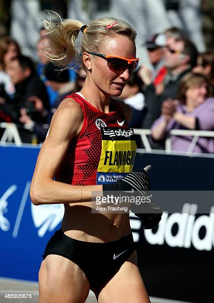 Shalane Flanagan warms up before the Elite Women's division starts the 118th Boston Marathon on April 21 2014 in Hopkinton Massachusetts