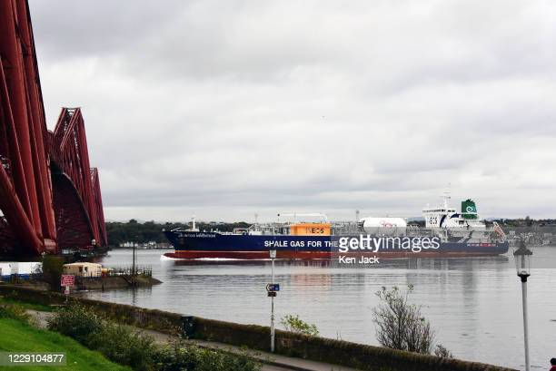 Shale gas tanker J S Ineos Invention passes under the Forth Bridge en route from Grangemouth to the US port of Marcus Hook on October 16 2020 in...