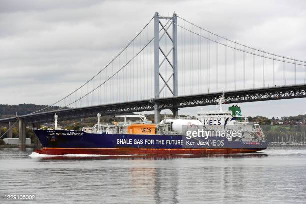 Shale gas tanker J S Ineos Invention passes under the Forth Road Bridge en route from Grangemouth to the US port of Marcus Hook on October 16 2020 in...