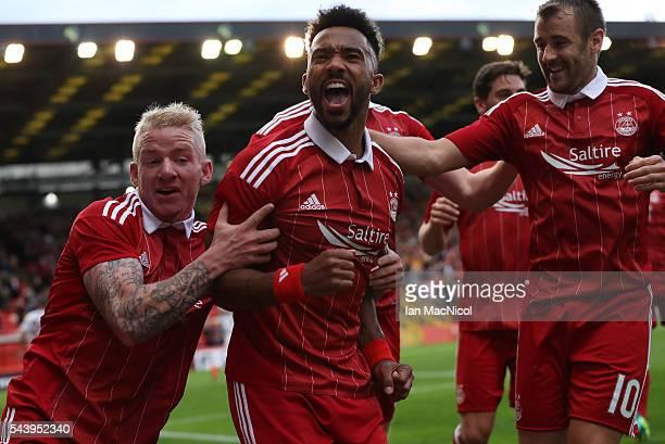 Shaleum Logan of Aberdeen celebrates after he scores during the UEFA Europa League First Qualifying Round First Leg match between Aberdeen and CS...