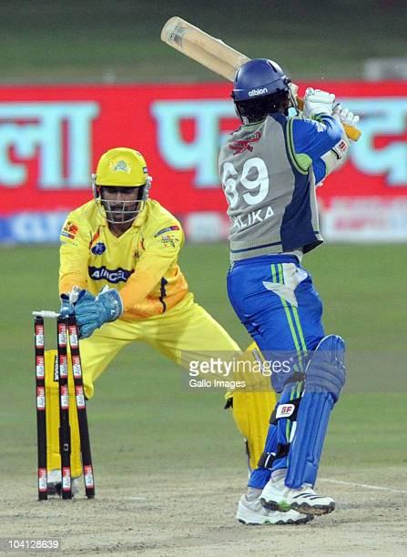Shalika Karunanayake of Wayamba Elevens is stumped by MS Dhoni of Chennai Super Kings during the Airtel Champions League Twenty20 match between...