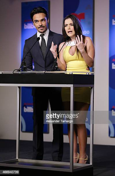 Shalim Ortiz and Daniela Navarro attend 2014 Billboard Latin Music Awards Press Conference to announce finalists at Gibson Miami Showroom on February...