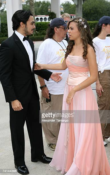 Shalim Ortiz and sister Sharina Ortiz arrive for Charytin Goyco's dream wedding at Walt Disney World at the Grand Floridian wedding pavilion on May...