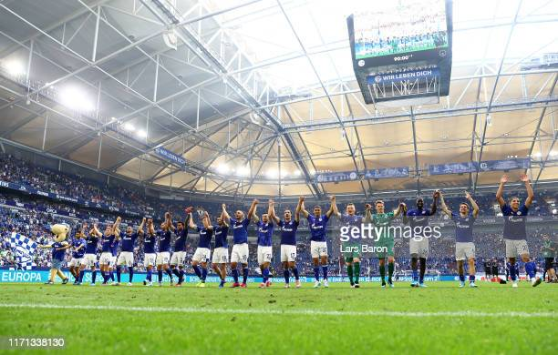 Shalke 04 players show appreciation to the fans after the Bundesliga match between FC Schalke 04 and Hertha BSC at Veltins-Arena on August 31, 2019...