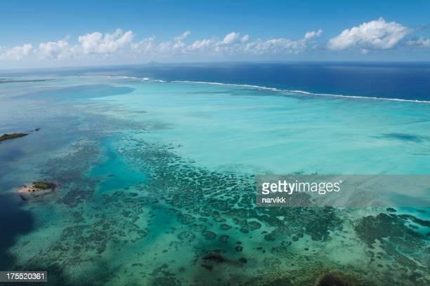 Shallow coral sea along the Mauritius coast