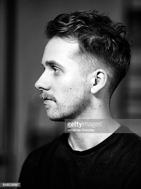 Shallow depth of field b&w portrait, side view