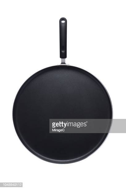 shallow flat pancake pan - frying pan stock pictures, royalty-free photos & images