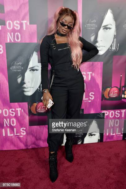 Shalom Blac attends MAC Cosmetics Aaliyah Launch Party on June 14 2018 in Hollywood California