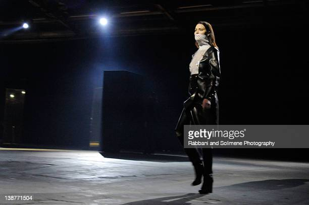 Shalom Harlow walks the runway at the Alexander Wang Fall 2012 fashion show during MercedesBenz Fashion Week at Pier 94 on February 11 2012 in New...