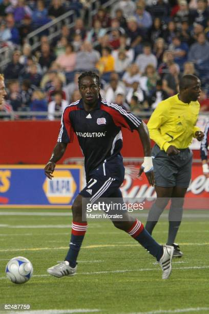 Shalrie Joseph of the New England Revolution handles the ball during the game played against DC United at Gillette Stadium on August 20 2008 in...