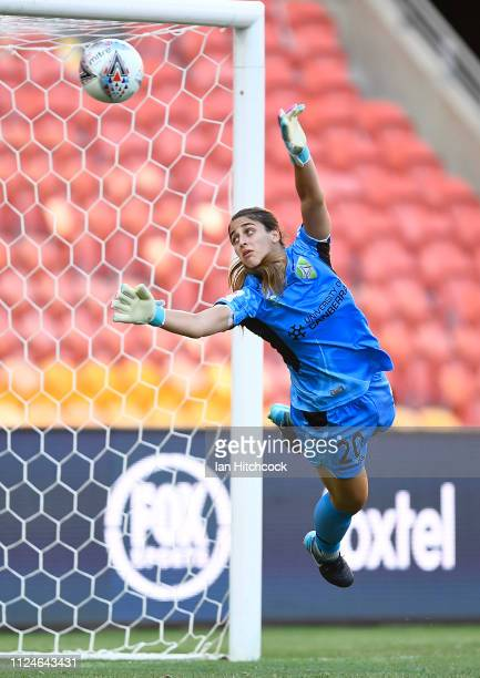 Sham Khamis of Canberra United atempts to make a save during the round 13 W-League match between the Brisbane Roar and Canberra United at Suncorp...