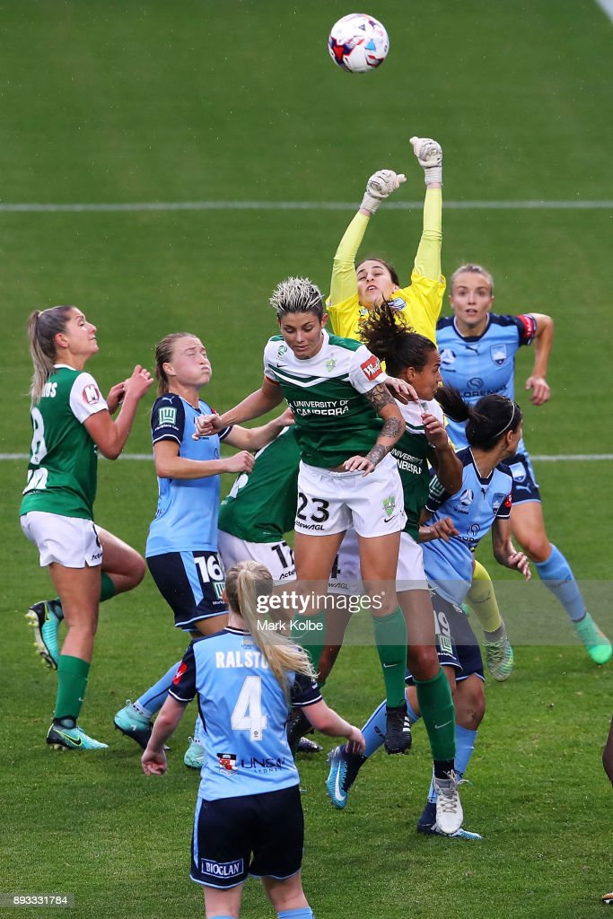 Sham Khamis of Sydney FC punches the ball away during the round eight W-League match between Sydney FC and Canberra United at Allianz Stadium on December 15, 2017 in Sydney, Australia.