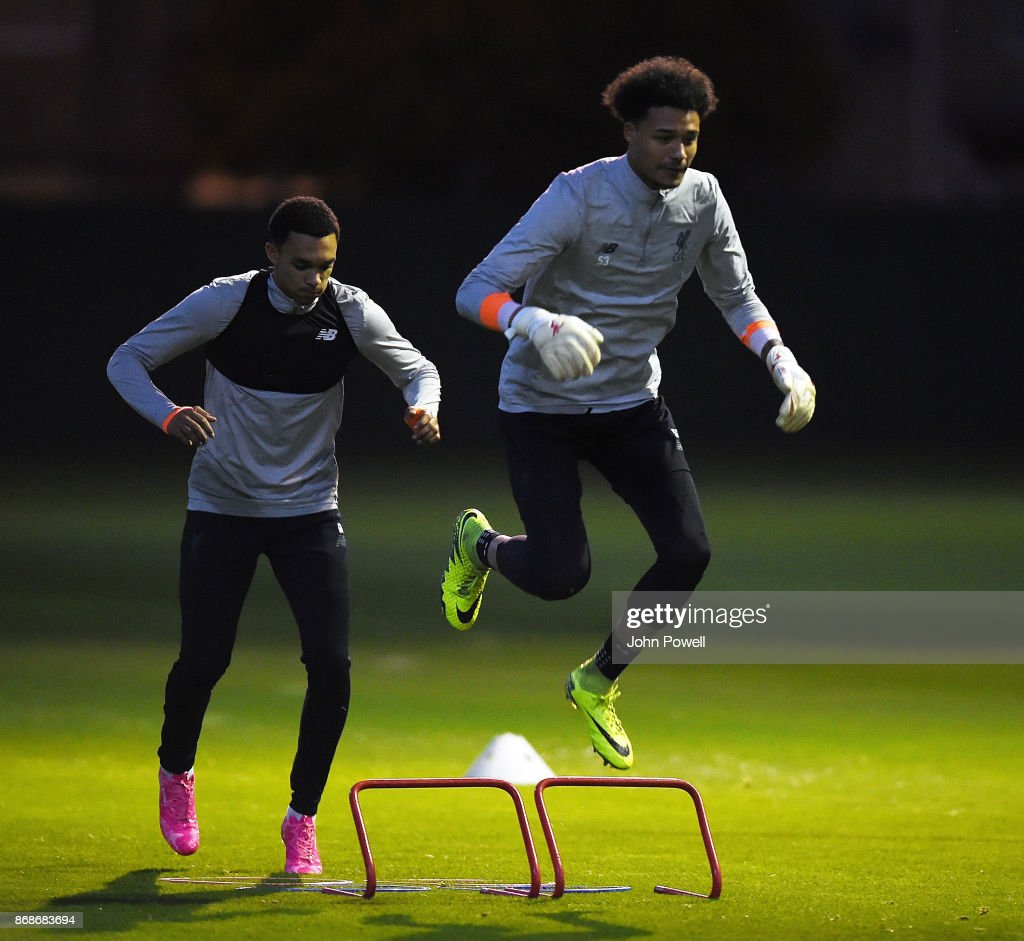 Shamal George of Liverpool during a Liverpool training session at Melwood Training Ground on October 31, 2017 in Liverpool, England.