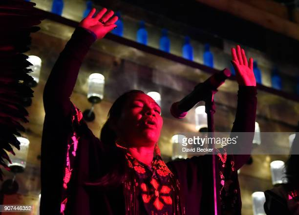 Shaman Husauhu Yawanawa gives a prayer at Steelhouse and Eternal Front presents Beyond the Front Lines during the 2018 Sundance Film Festival on...