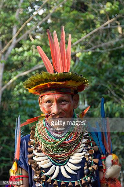 shaman in ecuador rainforest - ecuador stock pictures, royalty-free photos & images