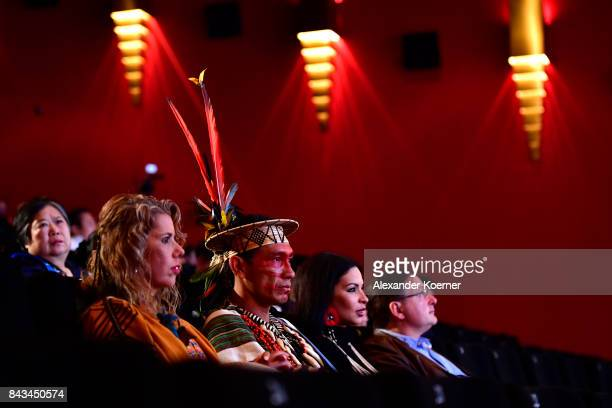 A shaman of the Amazon tribe attends the opening of the Golden Tree International Documentary Film Festival at CineStar Metropolis on September 6...