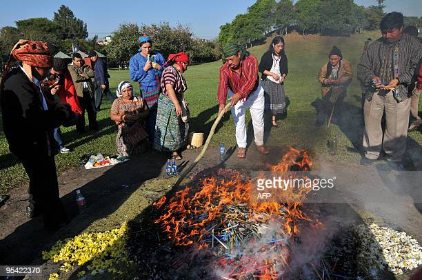 Shamans and their relatives take part in a Mayan ceremony to commemorate the anniversary of the peace agreement that put an end to the 196096 civil...