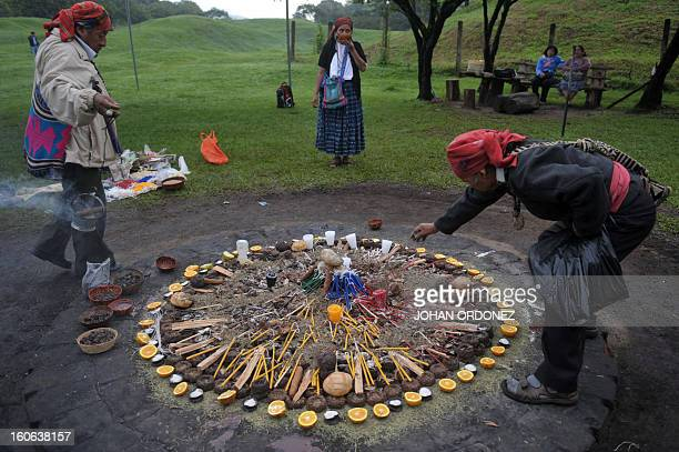 Shamans take part in a Mayan ceremony to commemorate the 'Tzikin' day on July 15 at the Kaminal Juyu archaeological site in Guatemala City AFP...