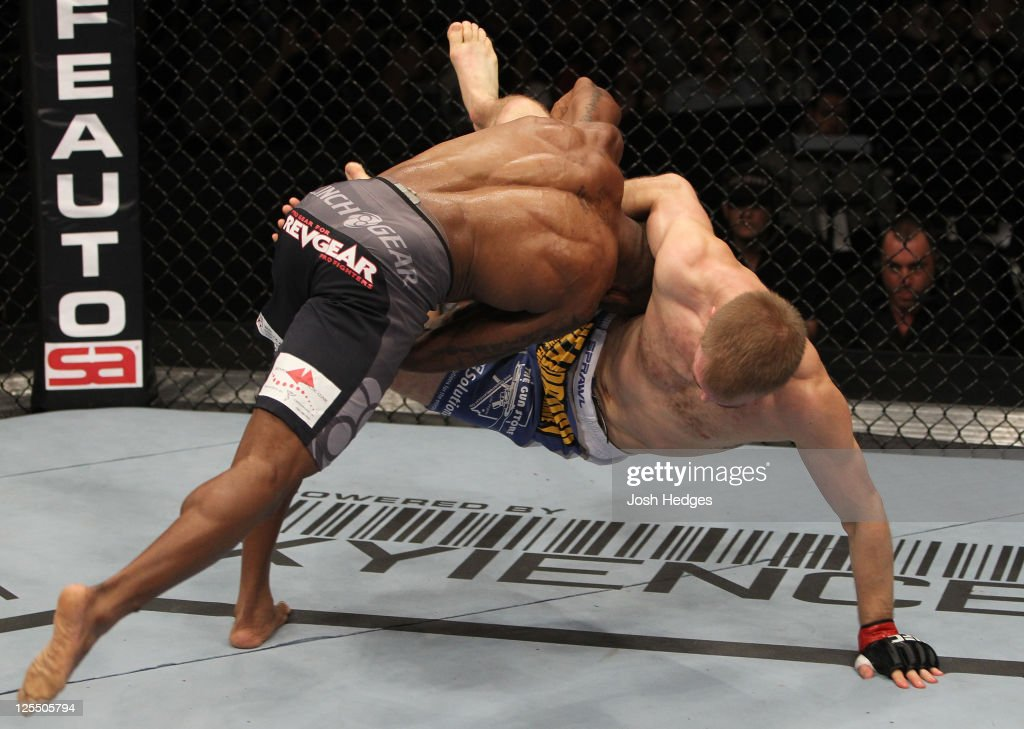 Shamar Bailey takes down Evan Dunham during the UFC Fight Night event at the New Orleans Convention Center on September 17, 2011 in New Orleans, Louisiana.